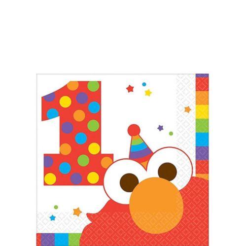 Serviettes à boisson Elmo pour 1er anniversaire, paq. 16