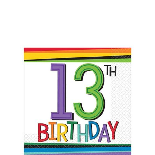 Rainbow 13th Birthday Beverage Napkins, 16-pk Product image
