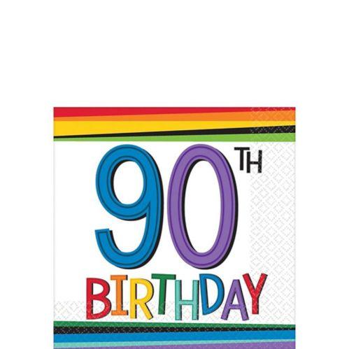 Rainbow 90th Birthday Beverage Napkins, 16-pk Product image