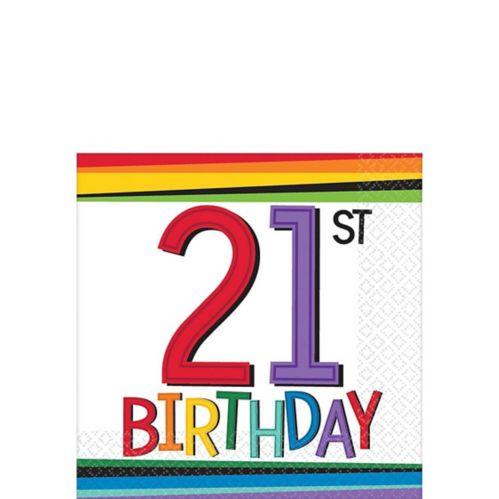 Serviettes à boissons 21e anniversaire arc-en-ciel, paq. 16 Image de l'article