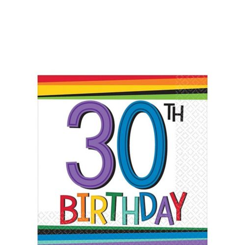 Rainbow 30th Birthday Beverage Napkins, 16-pk