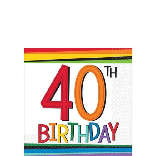 Rainbow 40th Birthday Beverage Napkins, 16-pk Product image