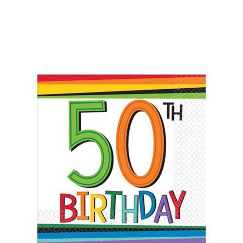 Serviettes à boissons 50e anniversaire arc-en-ciel, paq. 16