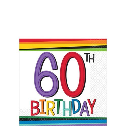 Rainbow 60th Birthday Beverage Napkins, 16-pk