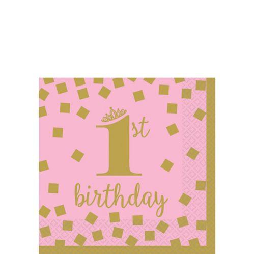 Pink & Gold 1st Birthday Beverage Napkins, 16-pk