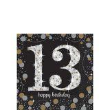 Sparkling Celebration 13th Birthday Beverage Napkins, 16-pk
