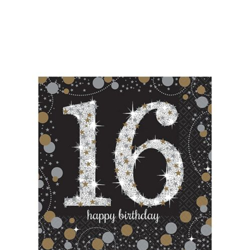 Sparkling Celebration 16th Birthday Beverage Napkins, 16-pk
