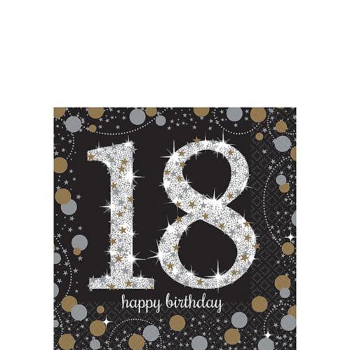 Serviettes à boisson Célébration scintillante 18e anniversaire, paq. 16