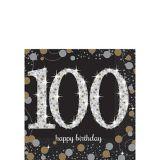 Serviettes à boisson Célébration scintillante 100e anniversaire, paq. 16