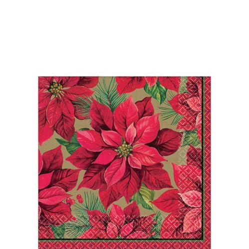 Holiday Poinsettia Beverage Napkins, 16-pk