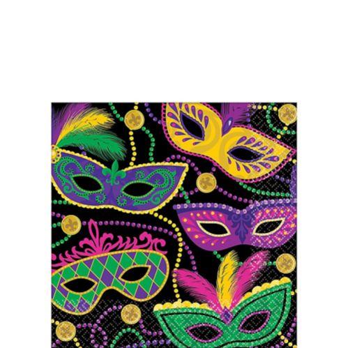 Serviettes à boissons mascarade Mardi gras, paq. 16 Image de l'article
