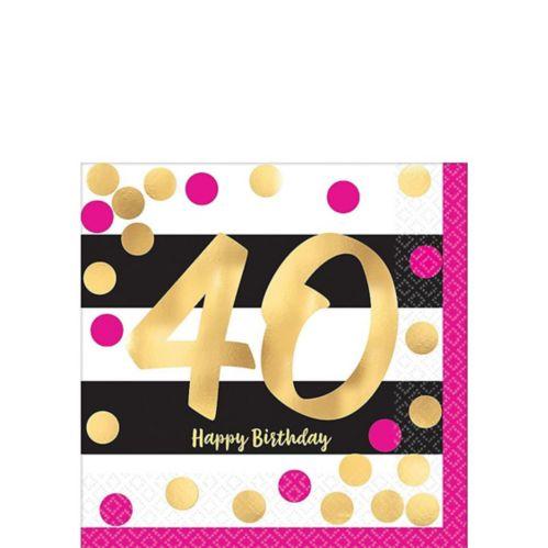 Metallic 40th Birthday Beverage Napkins, 16-pk Product image