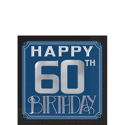 Vintage Happy Birthday 60th Birthday Beverage Napkins, 16-pk