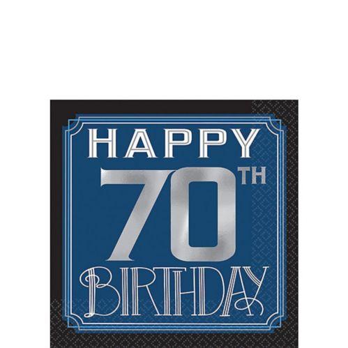 Vintage Happy Birthday 70th Birthday Beverage Napkins, 16-pk
