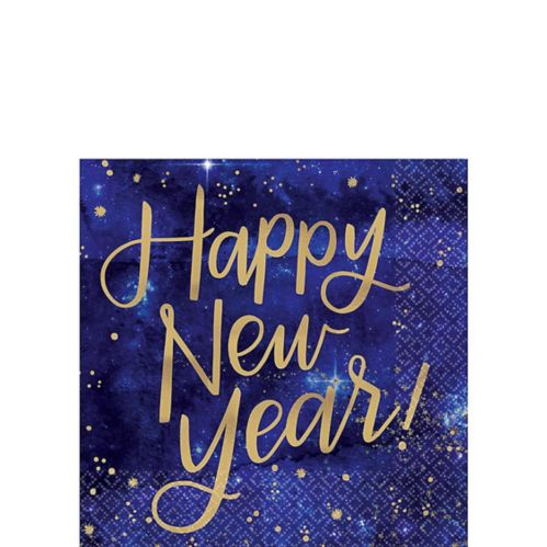 Metallic Midnight Happy New Year Beverage Napkins, 16-pk
