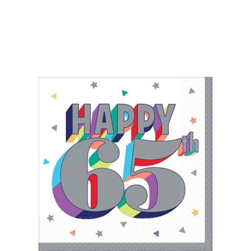 Here's to 65 Birthday Beverage Napkins, 16-pk