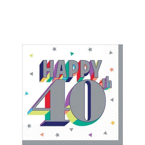 Serviettes à boisson Joyeux 40e anniversaire, paq. 16
