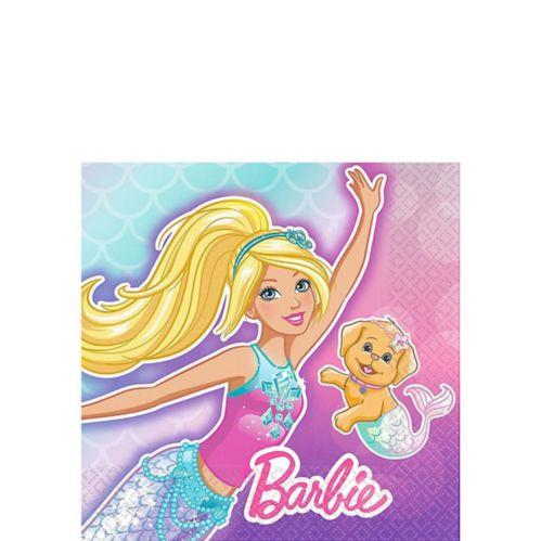 Serviettes à boisson sirène Barbie, paq. 16