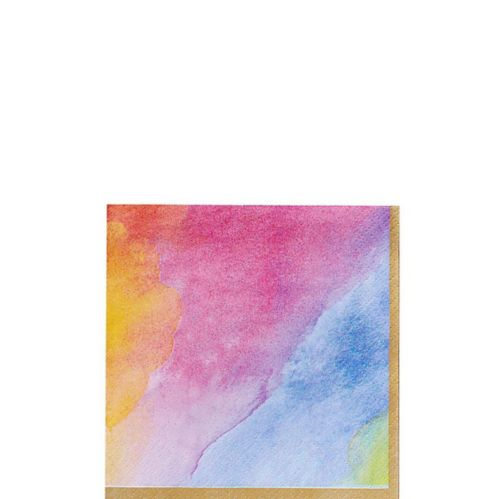 Watercolour Rainbow Beverage Napkins, 16-pk