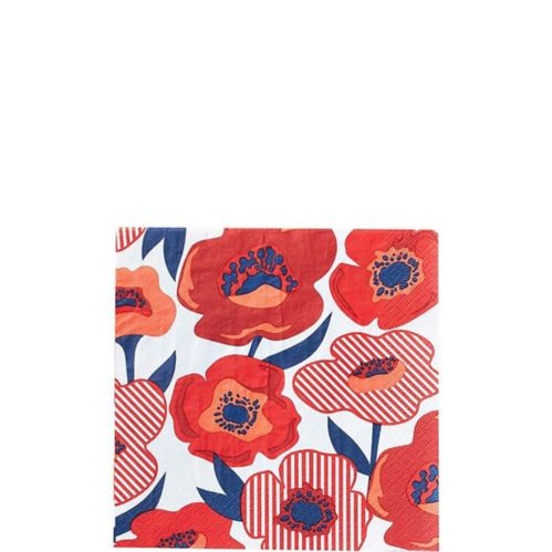Red Poppy Beverage Napkins, 16-pk Product image