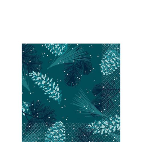 Serviettes à boisson Noël bleu sarcelle, paq. 16