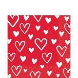 Serviettes à boisson coeur de la Saint-Valentin, paq. 16