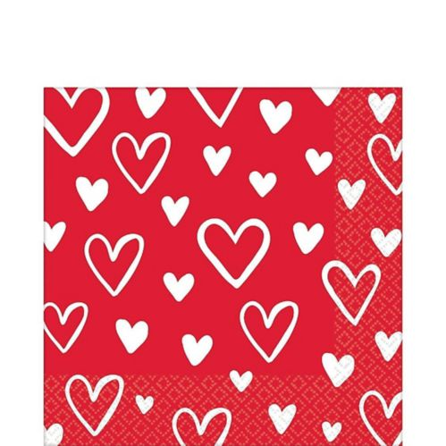 Serviettes à boisson coeur de la Saint-Valentin, paq. 16 Image de l'article