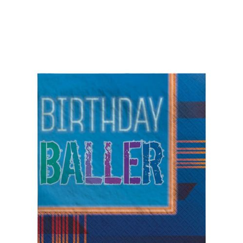 Serviettes à boissons Birthday Baller, paq. 16