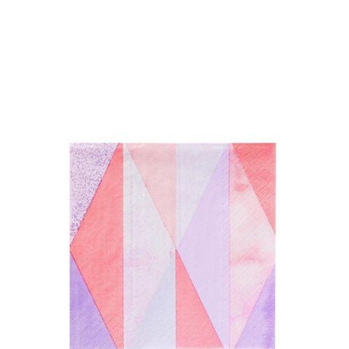 Serviettes à boissons géométriques roses, paq. 16