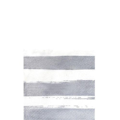 Silver Stripe Beverage Napkins, 16-pk
