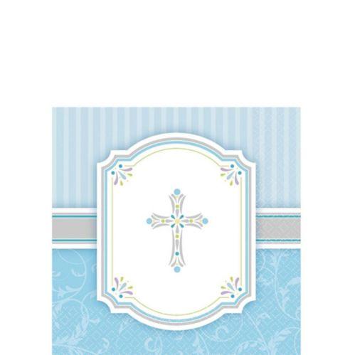Serviettes à boissons Première communion, bleu, paq. 16