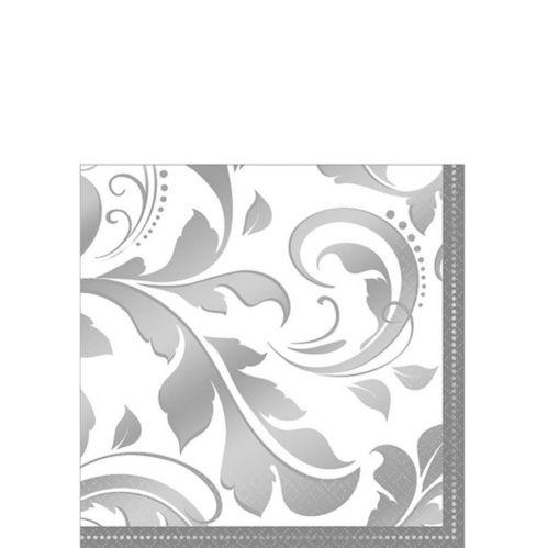 Silver Wedding Beverage Napkins, 16-pk