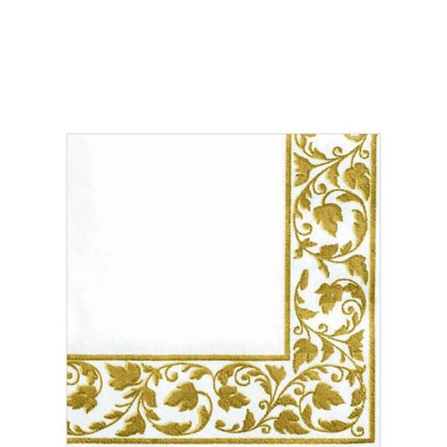 Premium White with Gold Scroll Beverage Napkins, 24-pk