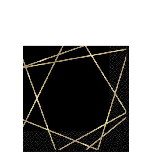 Black Metallic Gold Line Premium Beverage Napkins, 16-pk