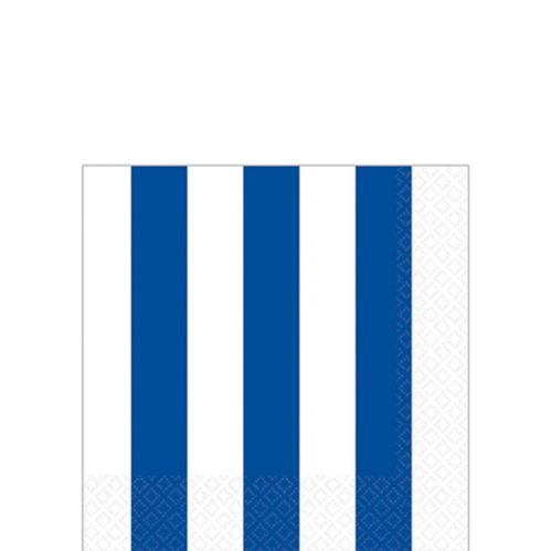 Bright Royal Blue Striped Beverage Napkins