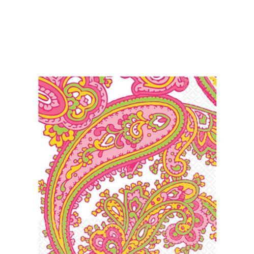 Serviettes de table à motif cachemire menthe rose Image de l'article