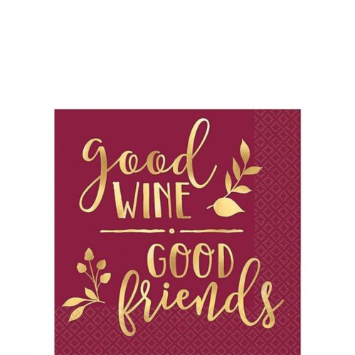 Metallic Gold Good Wine Good Friends Beverage Napkins, 16-pk Product image