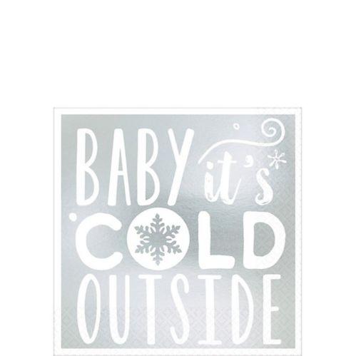 Serviettes à boissons métalliques Baby It's Cold Outside, paq. 16