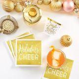 Serviettes à boissons Joie des Fêtes dorées métalliques, paq. 16