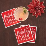 Metallic Red Holiday Cheer Beverage Napkins, 16-pk