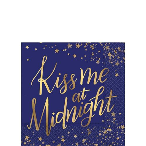 Metallic Gold Midnight New Year's Eve Beverage Napkins, 16-pk