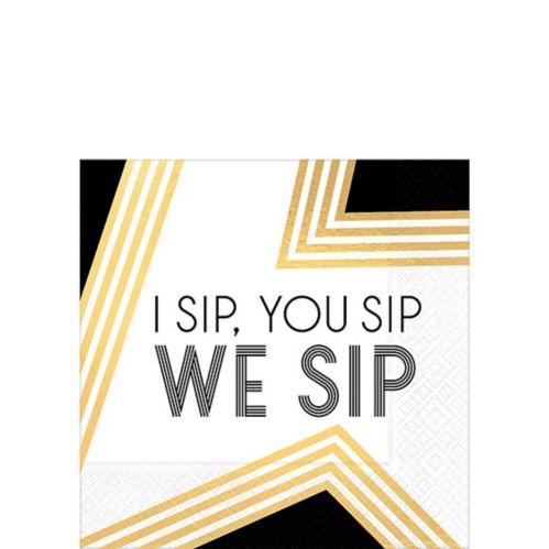 Black, Gold & White We Sip Beverage Napkins, 16-pk