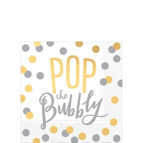 Metallic Gold & Silver Pop the Bubbly Beverage Napkins, 16-pk