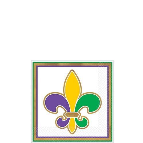 Serviettes à boissons Mardi gras, fleurs de lys, or métallique, paq. 16