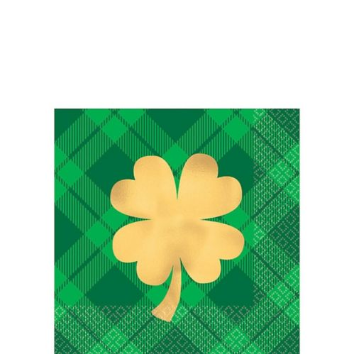 Serviettes à boissons à motif écossais trèfle doré, paq. 16