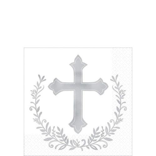 Metallic Silver Cross Beverage Napkins, 16-pk