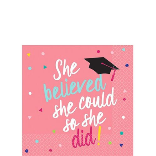 She Believed Graduation Beverage Napkins, 36-pk