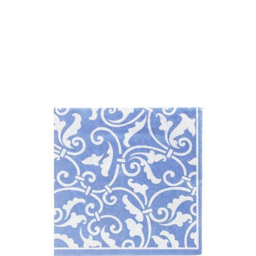 Pastel Blue Ornamental Scroll Beverage Napkins, 16-pk
