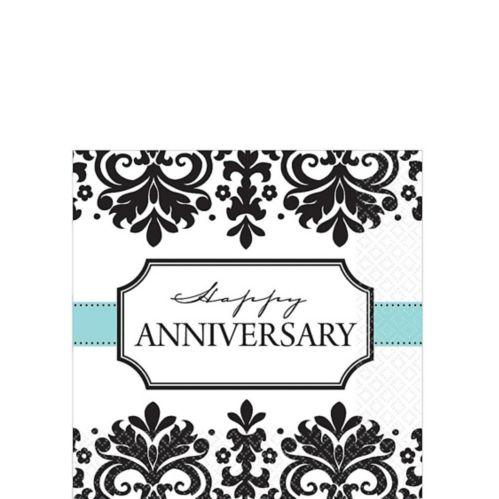 Serviettes à boissons pour anniversaire de mariage Always & Forever, paq. 16