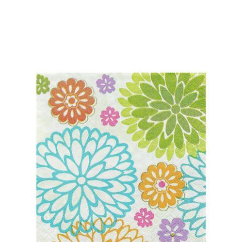 Serviettes à boissons à motif de chrysanthème moderne, paq. 16